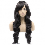 Auspiciouswig Long Curly Black Japanese Heat Resistant Fibre Synthetic Hair Wig 60 CM