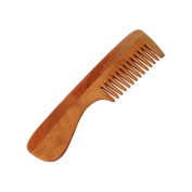 HealthAndYoga(TM) Handcrafted Neem Wood Comb - Anti Dandruff, Non-Static and Eco-friendly- Great for Scalp and Hair health -18cm Wide toothed with Handle