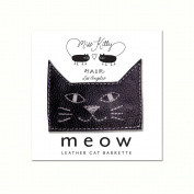 MEOW! Leather Kitty Barrette - Large- Black