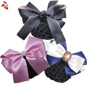 Xuanli® 3 Pcs Womens Hair Bun Cover Barrette Bow Snood Net Hair Clip Accessories Professional headdress flower