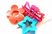 Set Of 3 Bright Coloured Different Shaped Hair Claw Clips in Pink ,Orange and Blue colour
