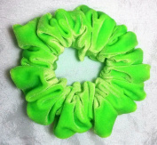 Florescent Green Stretch Velvet Hair Scrunchy-Full