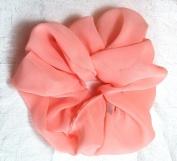 Peach Chiffon Hair Scrunchy-Large