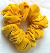 Solid Yellow Velvet Hair Scrunchy-Full