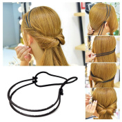 Lovef 2 pcs Korea Style Elegant Updo Double Layer Hairband Hair Hoop Tools Maker Forehead Adjustable with Rubber Band
