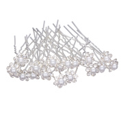 Nymph Code Bridal Pearls and Crystal Flower Wedding Hair Pins Clips for Women Bridesmaid Silver Plated
