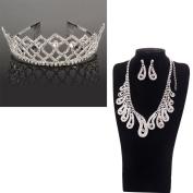 Yoshioe Shining Wedding Bridal Rhinestone Crown Headband + Peacock Shaped Rhinestoned Necklace & Earrings Set