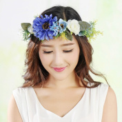 Exquisite Daisy Sunflower Flower Crown Headband with Adjustable Ribbon for Wedding Festivals