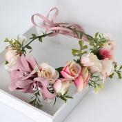 Vintage Flower Wreath Forehead Hair Head Band with Fruit Bride Hairband Wedding Party Prom Festival Beach Wreath