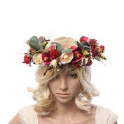 women handmade Rose Flower Wreath Crown Garland Wedding Festivals Girl Rose Wreath Headpiece Floral crown