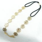 Xiaomei 1 pcs Womens Fashion Metal Chain Jewellery Hollow Rose Flower Elastic Hair Headband