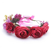 Beautiful Women Rose Flower Crown Garland Headband with Adjustable Ribbon
