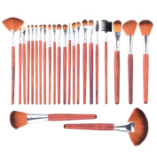 Makeup Brush, PeleusTech 24Pcs Wooden Handle Professional Cosmetic Makeup Brush Set with Black PU Leather Case
