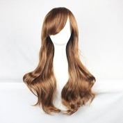 Womens Ladies Girls 70cm Orange/ginger Colour Long Curly Wigs High Quality Hair Carve Cosplay Costume Anime Party Bangs Full Sexy Wigs