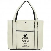 Fashion Tote Bag Shopping Beach Purse Keep Calm and Love Squirrels
