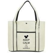 Fashion Tote Bag Shopping Beach Purse Keep Calm and Love Squirrels