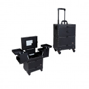 Sunrise Professional 4 Wheels Rolling Makeup Cosmetic Train Case with Mirror