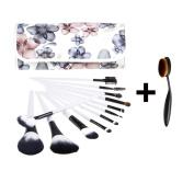 Unimeix Professional 12 + 1 Pcs Makeup Cosmetics Brushes Premium Synthetic Kabuki Foundation Blending Blush Concealer Eyeshadow Face Liquid Powder Cream Cosmetics Brush Set Kits with Oval ToothBrush