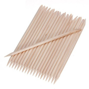 100Pcs Nail Art Beige Wood Stick Cuticle Pusher Remover Pedicure Manicure Tool