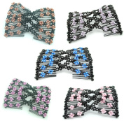 Lovef 5 Pcs Assorted Colour Stretch Flower Bow Glass Bead Hair Head Comb Double Hair Combs Cuff Double Clip Gift