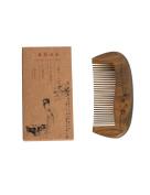 Hawkeye Natural Green Carving Sandalwood Wood Comb-handmade,portable Hair Comb