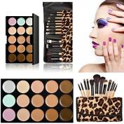 15-colour Concealer + 12pcs Wooden Handle Professional Multifunctional Cosmetic Makeup Brushes Set Leopard 10014919