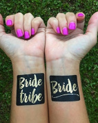 Set of 16 Bachelorette Party, bachelorette tattoo, Black and gold bride tribe, bridal party, bridesmaid tattoo, bride, hens party, wedding party