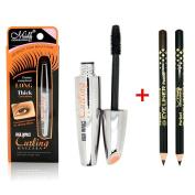 Ucanbe Waterproof Mascara with 2pcs Eye Liner Pencil Black adn Brown - Long Eyelash Silicone Brush - Curving Lengthening Colossal Mascara Makeup Kit