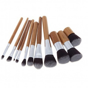Victony 11 pcs Wood Handle Makeup Cosmetic Eyeshadow Foundation Concealer Brush Set