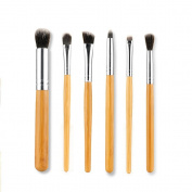 Victony 6PCS Wood Handle Eye Cosmetic Foundation Concealer Brush Set