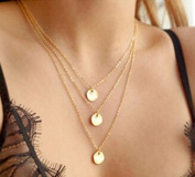Delicate 3 Layer Coin Chain Alloy Gold Necklace