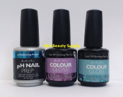 3pc Kit - Artistic Nail Design - Colour Gloss Gel Base & Top Coat & pH Primer- New look