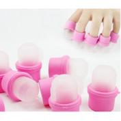 Wispun 10PC Wearable Nail Soak Soakers Polish Remover DIY Acrylic UV Gel art set cap tip tool For You