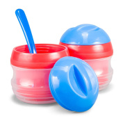 BooginHead Thermal Storage Pots, 2-Pack with Spoon, Red/Blue