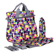 New Stylish Waterproof Stroller Nappy Bags, Plus Baby Changing Pad, Stroller Straps , Colourful Polka Dot, Insulated Bottle Holder, Tote Shoulder Baby Nappy Bags for Mom