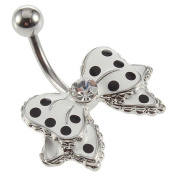 Cute Bow Polka Dots Belly Ring : New Fashion Cute Bow With Polka Dots No-Dangle Belly Ring Bar Navel Ring : New Fashion Navel