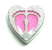 Cherityne Pink Baby Footprint on Heart Floating Charm for Locket Pendants