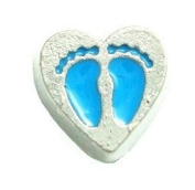 Cherityne Blue Baby Footprint on Heart Floating Charm for Locket Pendants