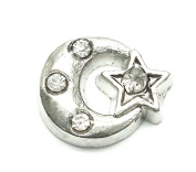 Cherityne Silver Tone Star and Moon with Crystal Floating Charm for Locket Pendants