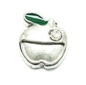 Cherityne Silver Tone Apple with Crystal Floating Charm for Locket Pendants