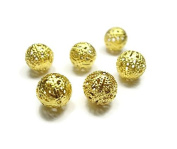Foxy Findings Gold Plated Ball Spacer Beads, 5 Pieces 12mm , 24K Gold Plated Brass Ball Beads - SFG030