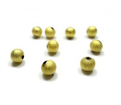 Foxy Findings Bead Spacers, 6mm Tiny Pin Point Textured Bead Spacer, Matte 24K Gold Plated 5 Pieces Spacers - SFG024