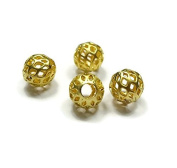 Foxy Findings Bead Spacers, Filigree Mini Ball Bead Spacer, Matte 24K Gold Plated 5 Pieces Spacers - SFG023
