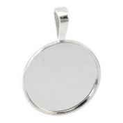 Souarts Silver Tone Colour Flat Button Round Cabochon Cameo Base Setting Pendant Pack of 10pcs