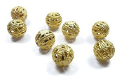 Foxy Findings 5 Pieces 8mm Gold Plated Ball Spacer Beads, 24K Gold Plated Brass Ball Beads 8x9mm - SFG019-B