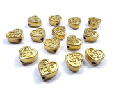Foxy Findings 5 Pieces Celtic Knot Heart Shape Brass Beads, 24K Gold Plated Celtic Bead Spacers - SFG019-A