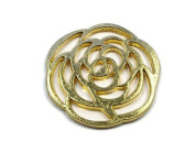 Foxy Findings 2 Pieces Rose Connector, 24K Lustre Gold Plated Rose Spacer - SFG014