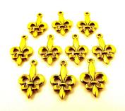Set of Ten (10) Gold Tone Fleur De Lis Charms