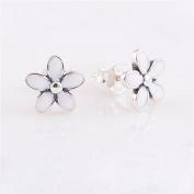 DIY fits European Jewellery 925 Sterling Silver White Enamel Daisy Earring
