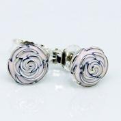 DIY fits European Jewellery 925 Sterling Silver Rose Garden Earring with Pink Enamel